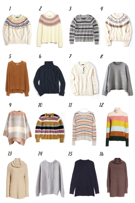 Some Favorite Lovely, Cozy Sweaters for Fall and Winter