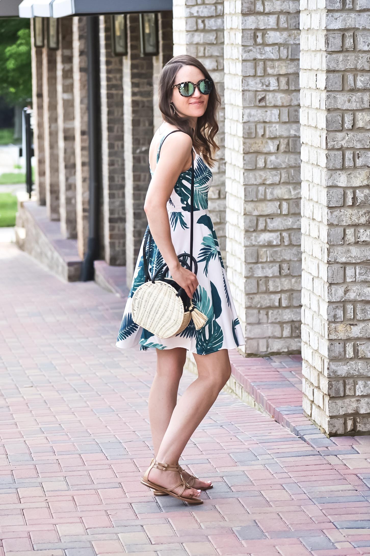 Palm Print Summer Dress