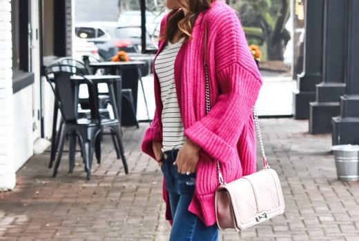 Pop of Color: Hot Pink Cardigan