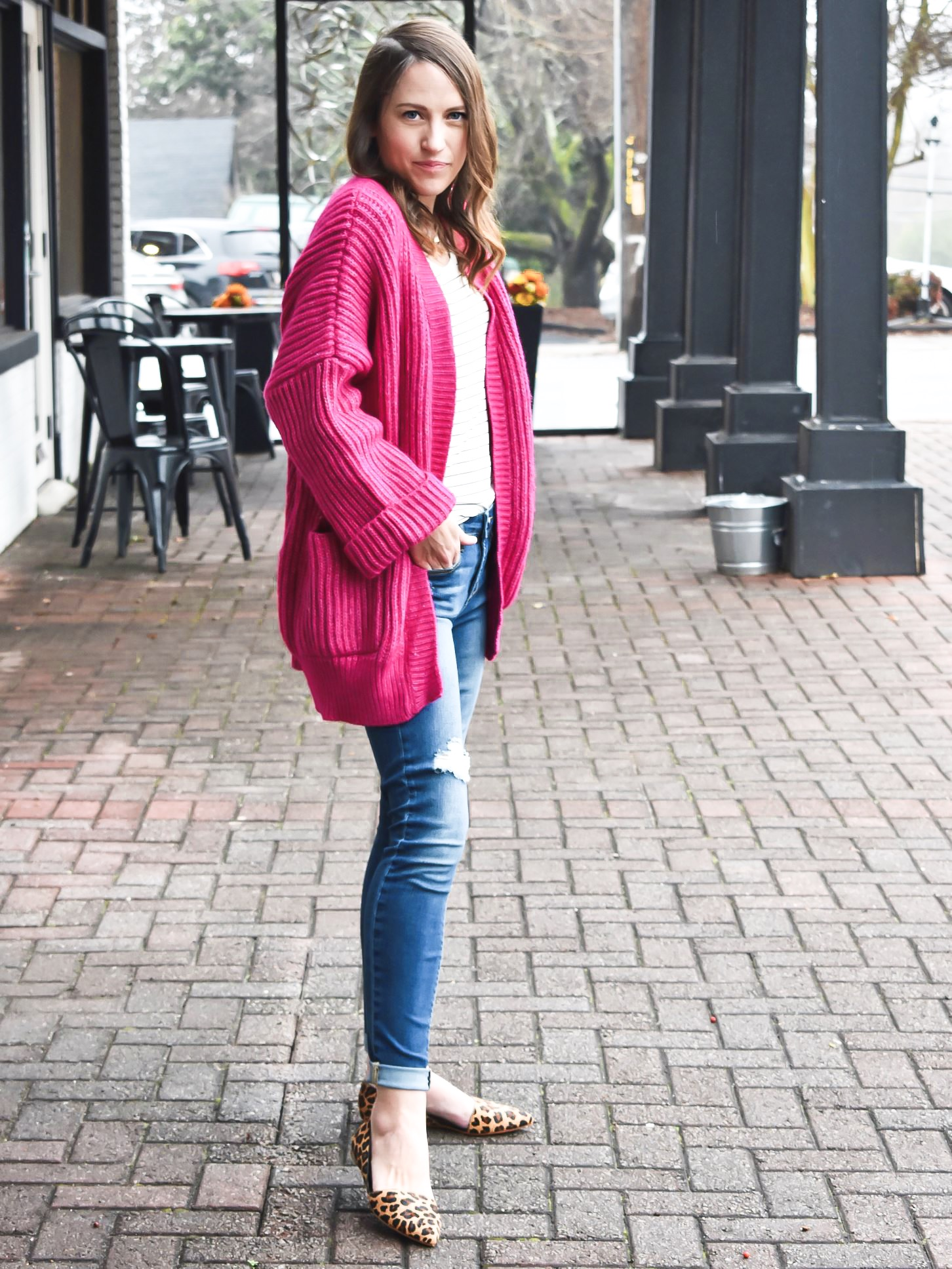 Pop of Color: Hot Pink Cardigan